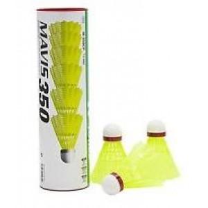 Yonex Mavis 350 1/6, visoka hitrost (rdeče), rumene barve.