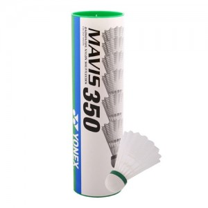 Yonex Mavis 350 1/6, nizka hitrost (zelene), bele barve.