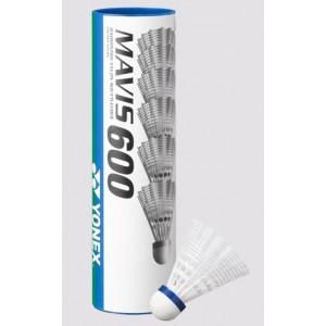 Yonex Mavis 600 1/6, srednja hitrost (modre), bele barve.