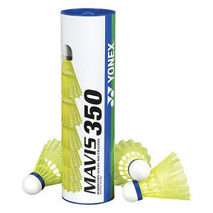 Yonex Mavis 350 1/6, srednja hitrost (modre), rumene barve.